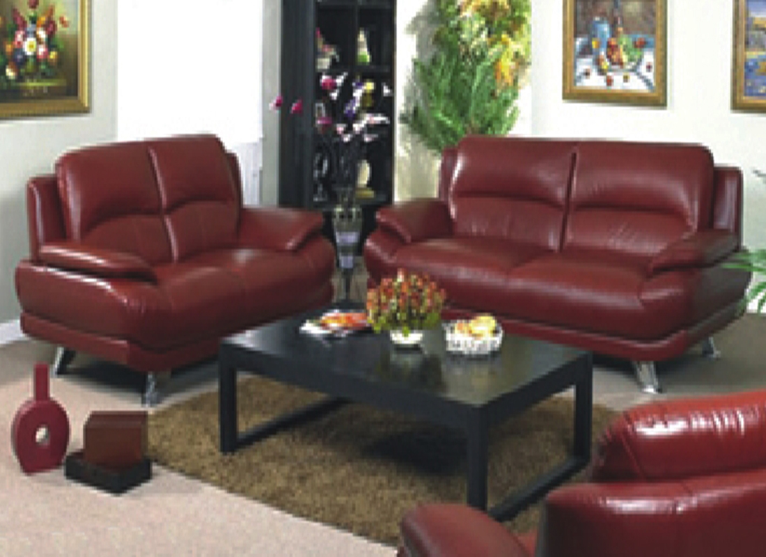 5 Piece Leather Sofa Set | Cherry Red ...